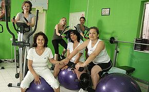 Cute grannies enjoy exercising nude