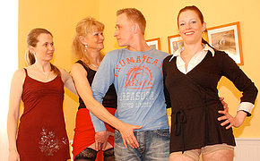 Couple of playful matures share one dick
