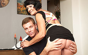Horny toy boy doing a very naughty mature lady