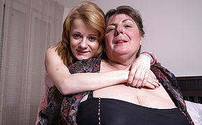 Two horny old and young lesbians in action