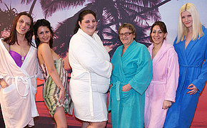 Check out a hot all female sauna with matures
