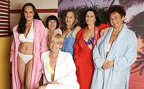 Old women relaxing in a sauna for women only