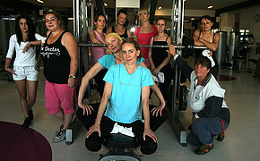 MILF women sweating nude at the gym