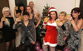 Mature and fresh Christmas orgy goes nasty