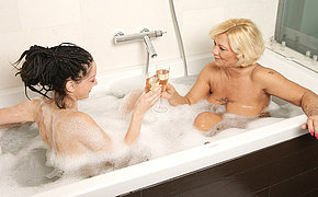 Feet and pee adoring granny and teen lesbian shower bitches