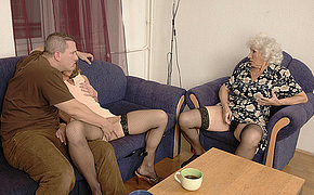 One guy banging a granny and a lady