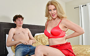 Blonde MILF Lacy B. Cummings enjoys the big cock of her sons best friend
