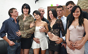 Four horny French ladies fuck their lovers in hot group sex party