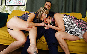 Horny British housewife takes it up the ass in hot threesome with her girlfriend and their stud