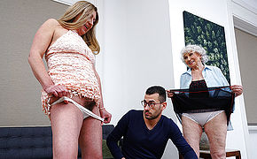 Young stud fucks horny granny and hairy housewife in threesome