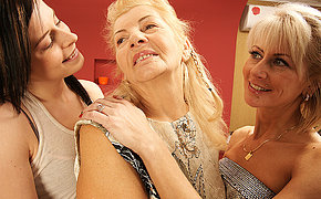 Three sweet and old lesbians have humping on the sofa