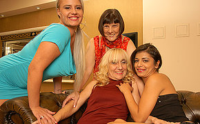 Four mixed age lesbians having bang