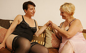 Couple of naughty old lesbians getting nasty