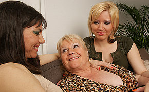 Three sexy old and young dykes love each other