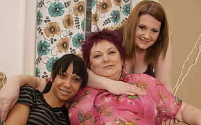 Three mature and teen lesbians banging each other hard