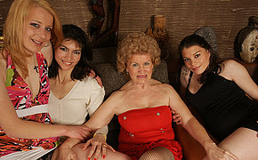 Four sexy old and young lesbians make it awesome