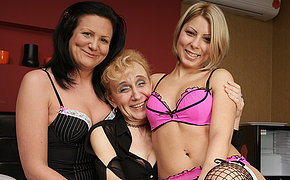 Three granny and young lesbian making each other soaked