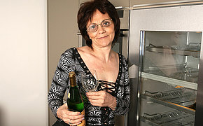 Sweet old whore adores fingering while drinking champagne