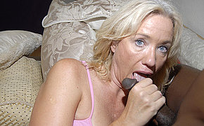 Blonde MILF chick enjoys ebony dagger