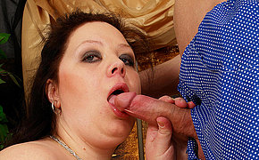 Hugetitted slut getting a mouth full of cum