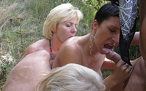 Staggering old babe has groupsex in the woods
