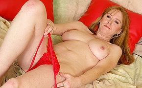 Vicious red old whore nymph getting off on a sex toy
