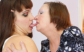 Vicious chick getting hot with a granny