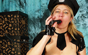 Old nasty chick becomes juicy in a police uniform