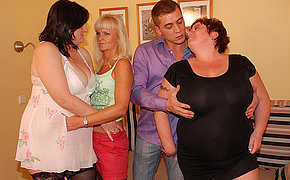 Lucky guy banging three senior ladies