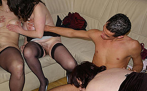 Vicious old chick on a sex party getting juicy