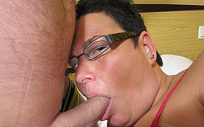 Chunky lady enjoys a big dick