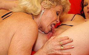 Young babe gets a lot of old girlfriend love