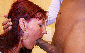 Deep throat blowjob in a public bathroom