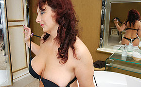 Sexy mom getting super horny in her bathroom