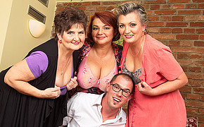 Awesomely lucky guy with glasses is surrounded by extra big sweet boobs