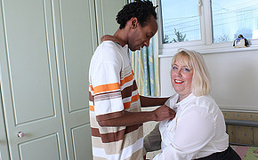 Chubby blonde MILF is going to be drilled hard by young ebony lover