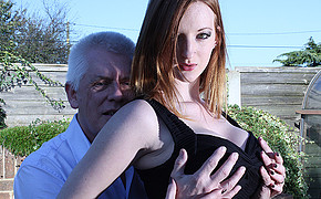 Dirty older man is touching his young girlfriends wild breasts gently