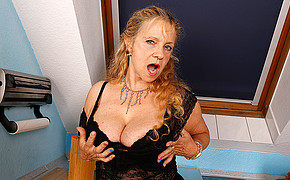 Fantastic mature is crying loudly when touching her own amazing breasts