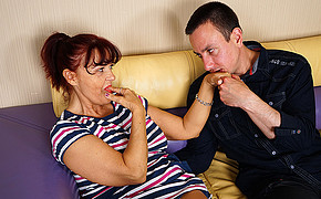 Hot MILF is sucking her finger while her lover is licking her sweet hand
