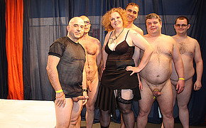 Lucky redhead MILF is about to get fucked by five men at the same time
