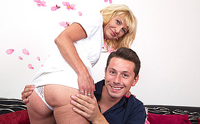 Sensational blonde is getting her sweet bump touched gently by the lover