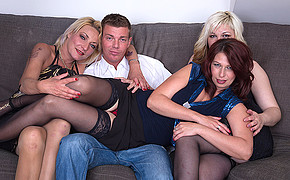 Three busty madams are ready to have hot foursome with handsome fellow