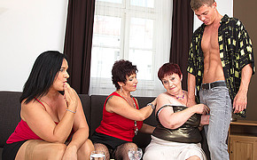 Three chubby lesbians are ready to share the lucky guys thick penis